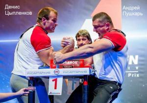 Стол для армрестлинга соревновательный - Денис Цыпленков и Андрей Пушкарь