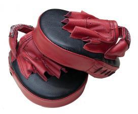 Лапы боксерские гнутые кожаные красно-чёрные