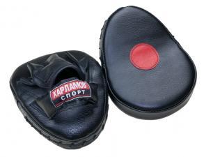 Лапы боксерские гнутые кожаные чёрные
