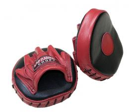 Лапы боксерские гнутые блинчик кожаные красно-чёрные