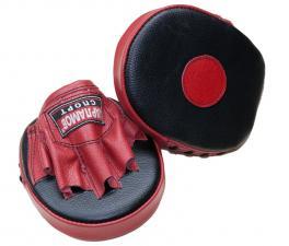 Лапы боксерские блинчик прямой кожаные красно-чёрные