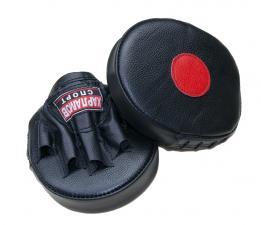 Лапы боксерские блинчик прямой кожаные чёрные