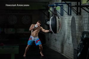 Работа на боксёрском снаряде — Николай Алексахин