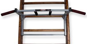 Турник на шведскую стенку с гнутым широким и узким хватом - фронтальный вид